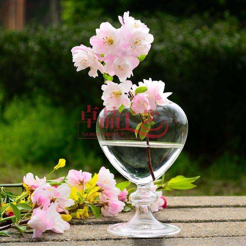 Heart Shape Glass Flower Vase For Wedding