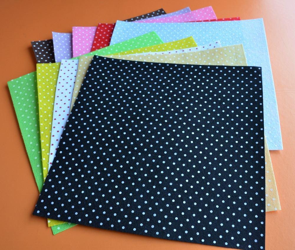 2017 all 10 printed multi colored polka dots felt sheets for Polka dot felt fabric