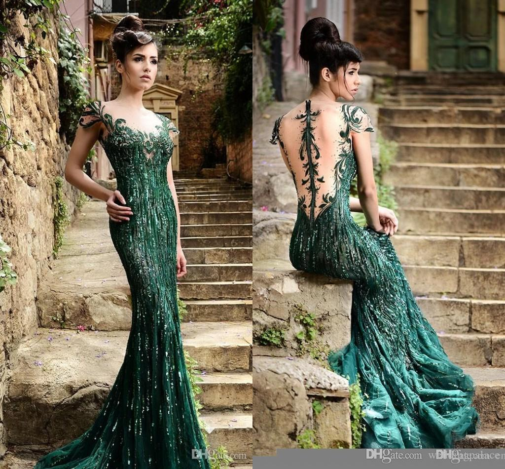 Rami Salamoun Arabic 2015 Celebrity Evening Dresses Hunter Green ...