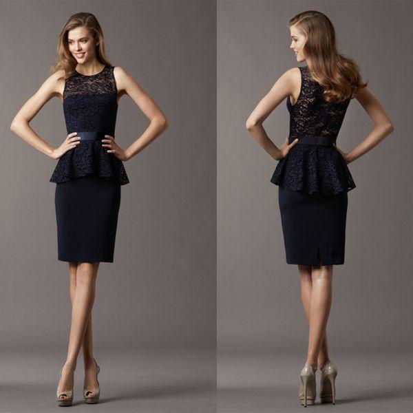 New Short Lace Navy Blue Evening Dresses Peplum Formal Gown Sheath ...