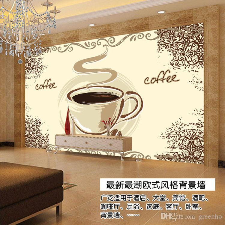 Coffee cup wallpaper custom 3d wall murals elegant for Mural coffee shop