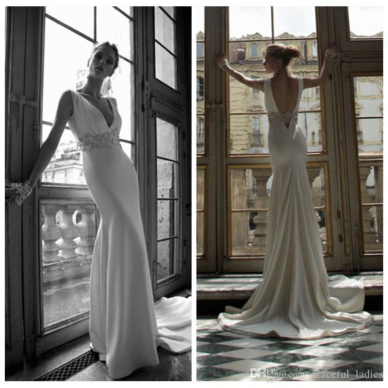 Sexy long mermaid wedding dresses v neck wide rhinestones for Sexy designer wedding dresses