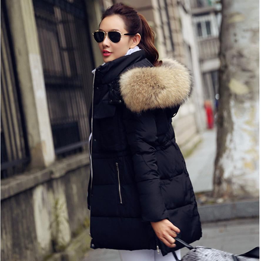 New 2015 Winter Jacket Women Raccoon Real Fur Collar Coats Female