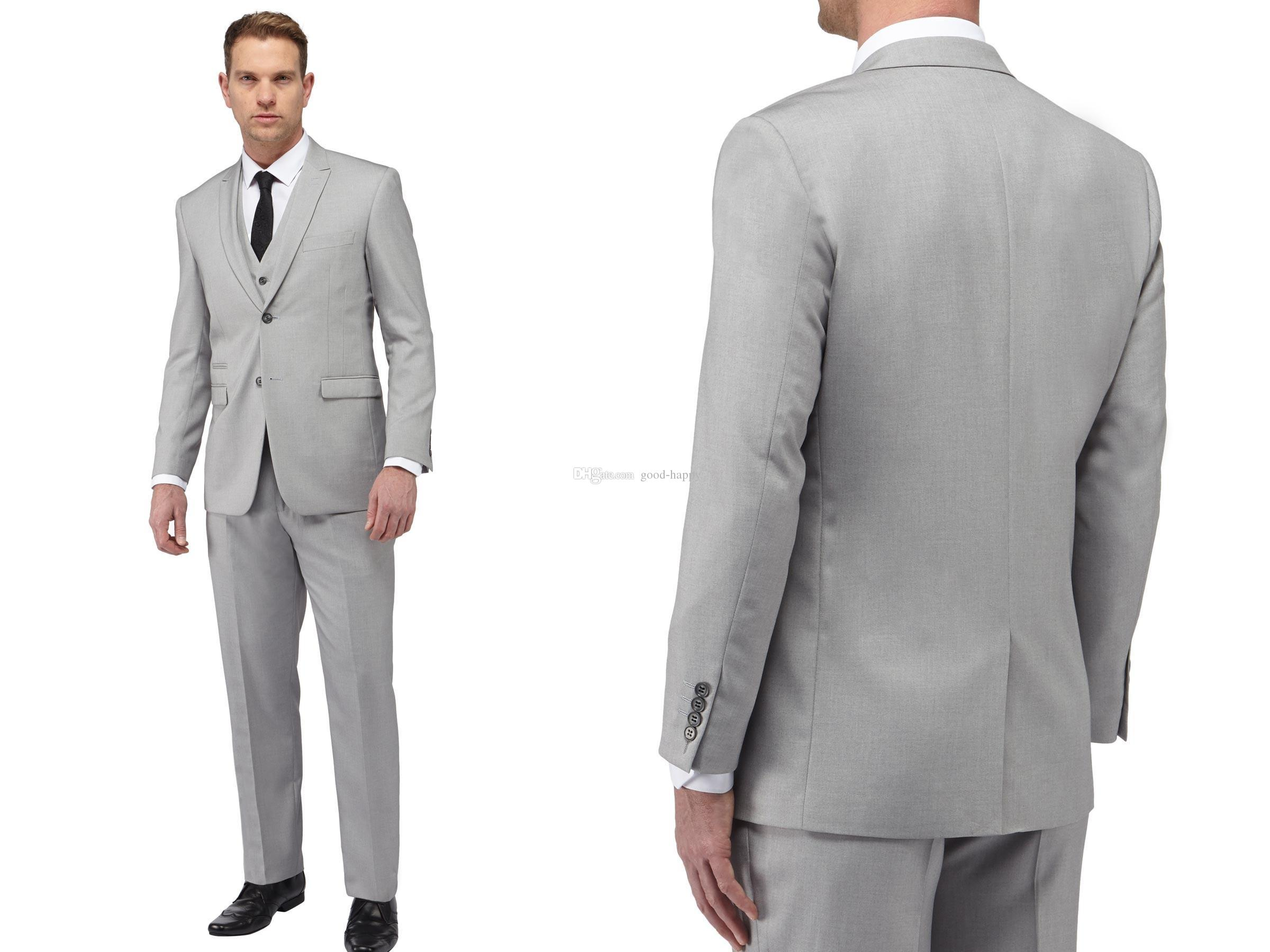 HOT -- New Design Back Vent Light Grey Groom Tuxedos Slim Fit ...