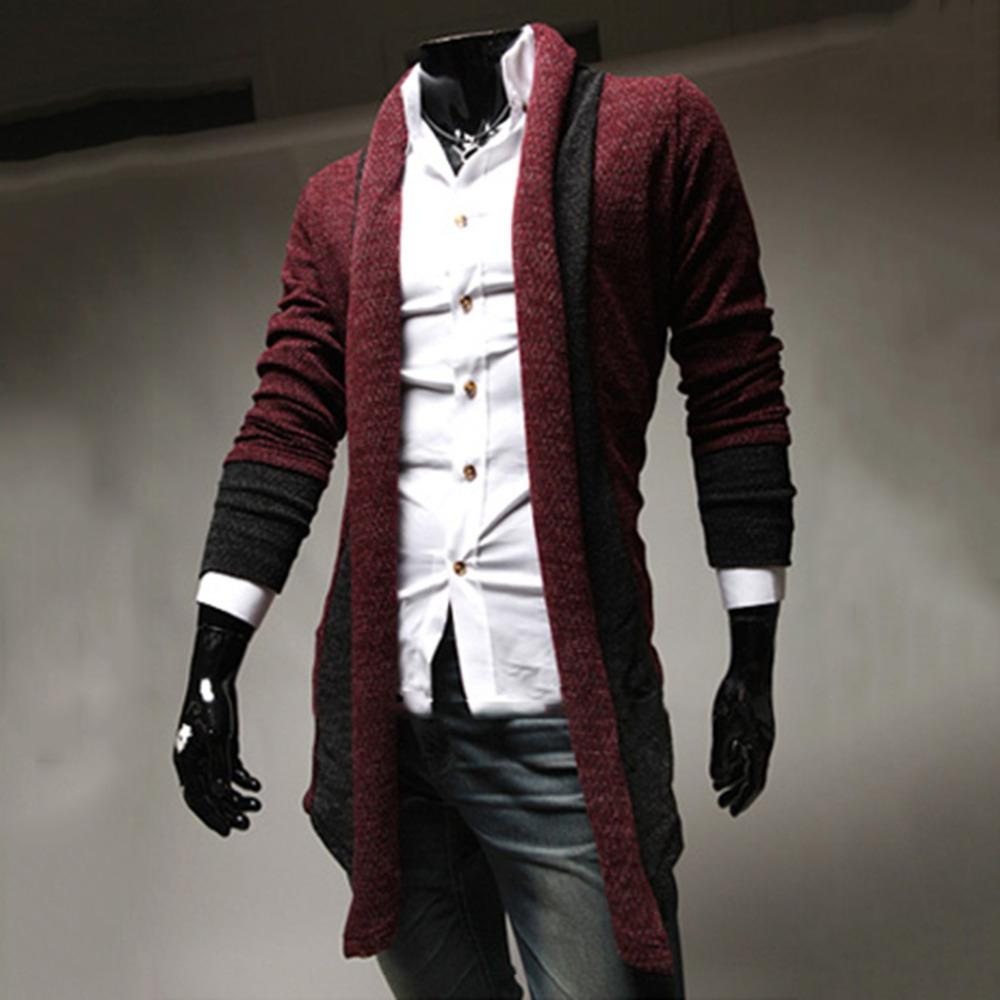 1601 Mens Shawl Collar Cardigan Sweater Korean Version Slim Fit ...