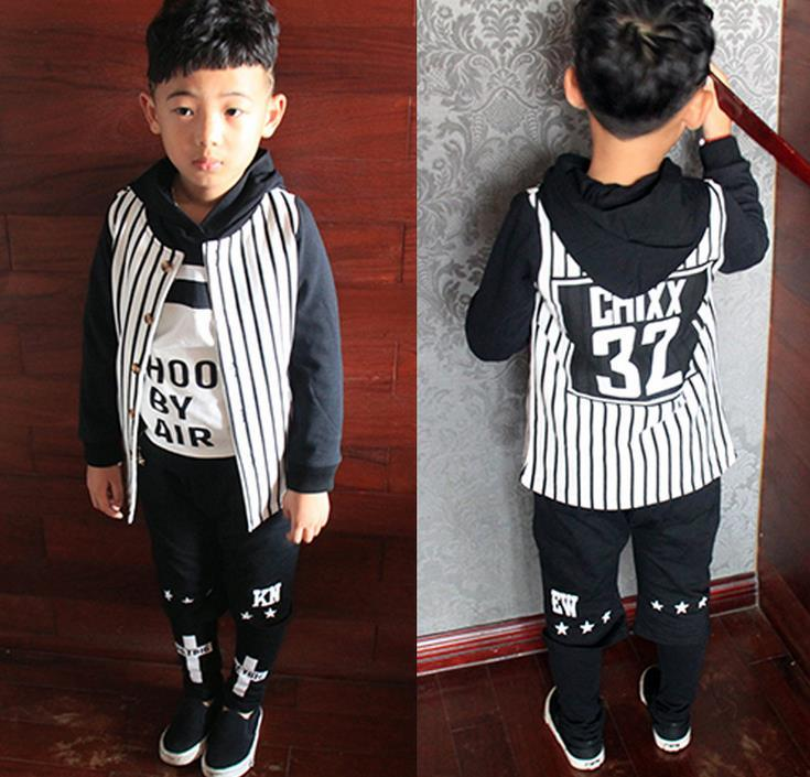 Boys Jackets Coats Autumn Wear Children Stripe Baseball Jacket Mid ...