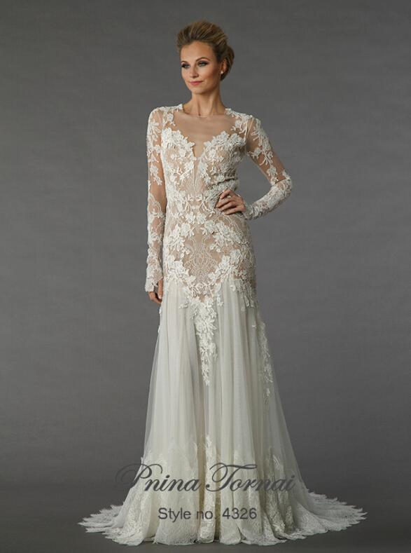 Custom Made Pnina Tornai Sheath Long Sleeve Wedding