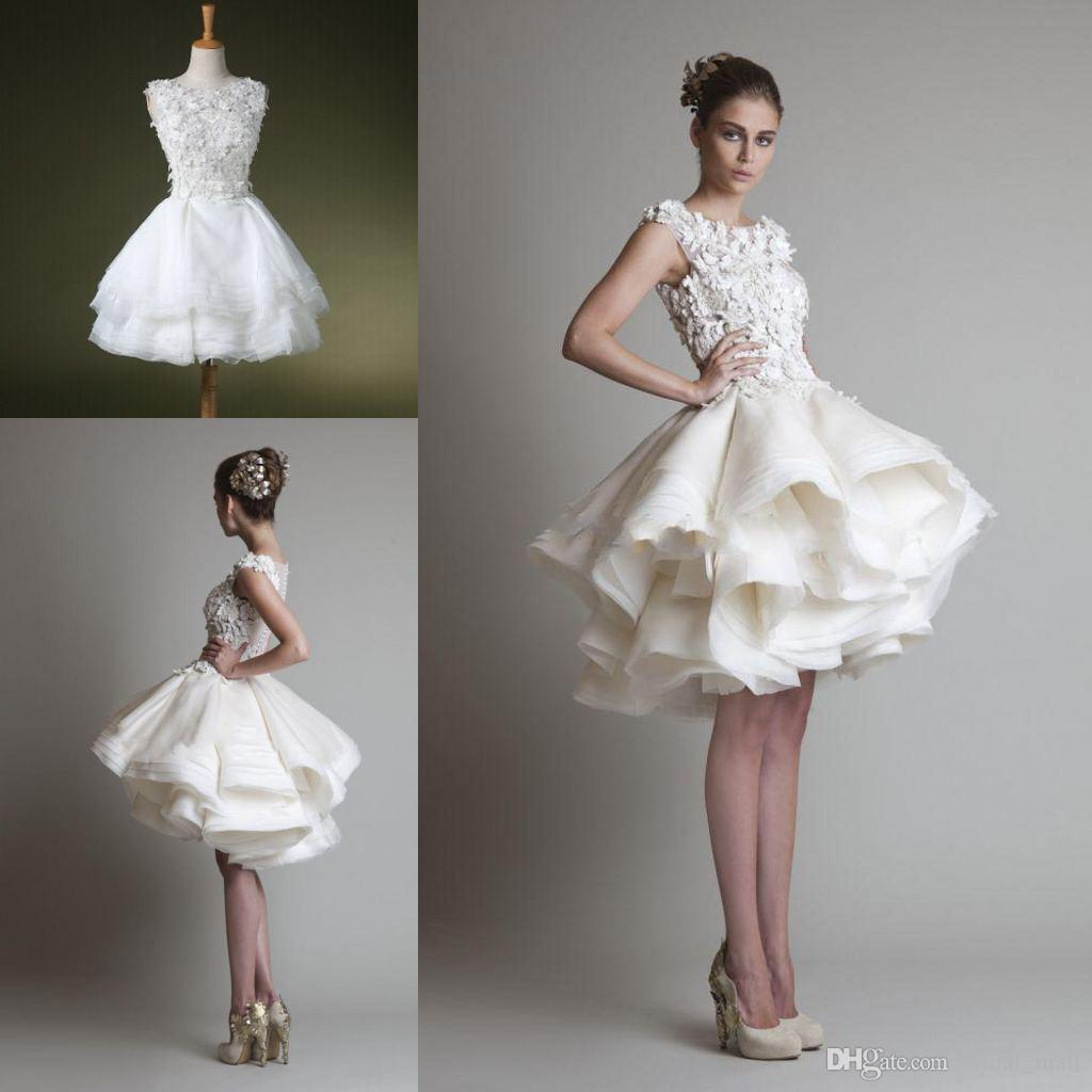 Wolesale fasion organza ruffle short casual wedding for Casual wedding dresses for winter