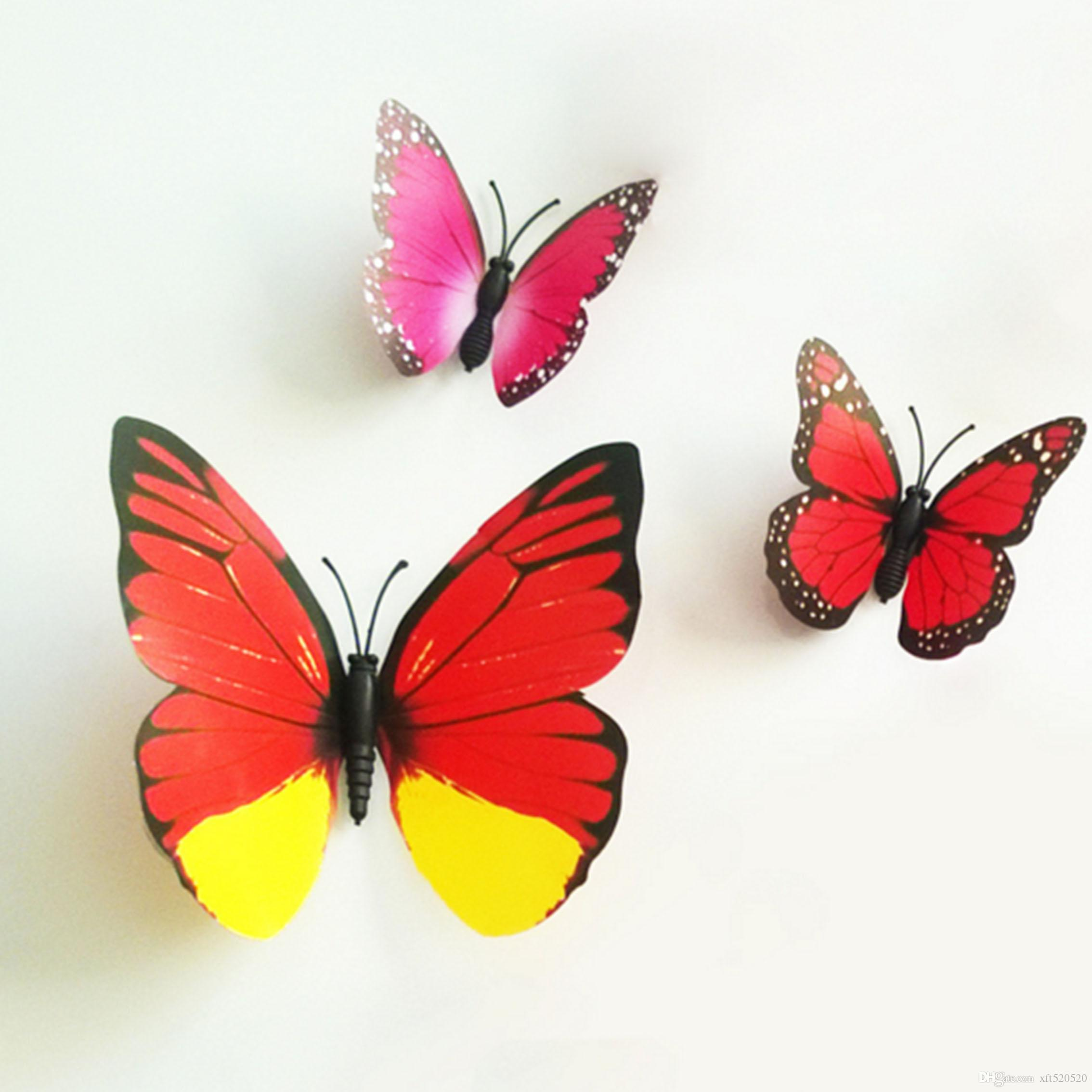 Colorful design art 3d butterfly wall stickers wall decor for Butterfly design on wall