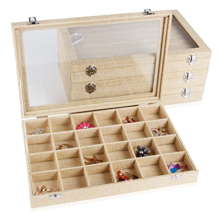 35x24 Multifunctional Linen Jewelry Display Case Storage Box Organizer Tray  Box With Glass Lid For Necklace Bangle Ring Earring Jewelry Box Linen  Jewelry ...