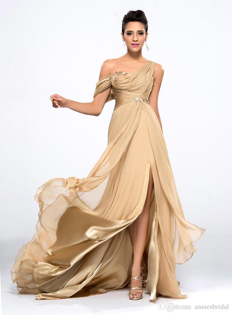 2015 Sheer One Shoulder Gold Champagne Chiffon Mermaid Prom ...
