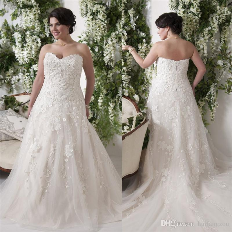 Plus Size Wedding Dresses Va : Plus size lace wedding dresses sweetheart neckline zipper