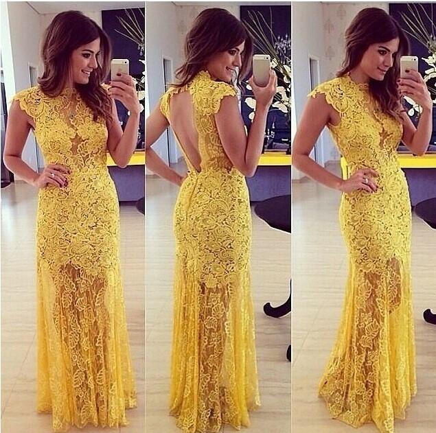Yellow Lace Bridesmaid Dresses Cap Sleeves Hollow Back Bateau Neck ...