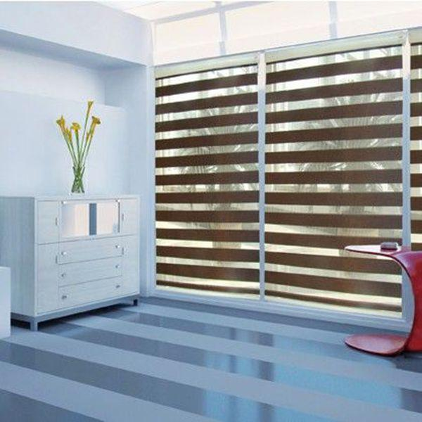 Blackout Roller Zebra Blinds Light Filtering Sheer Shade In Dark Brown Curtains For Living Room32in W48in L 81cm121cm Curtain