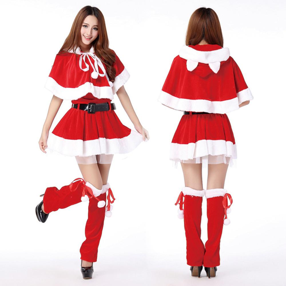 Women voile lining christmas dresses velvet santa claus