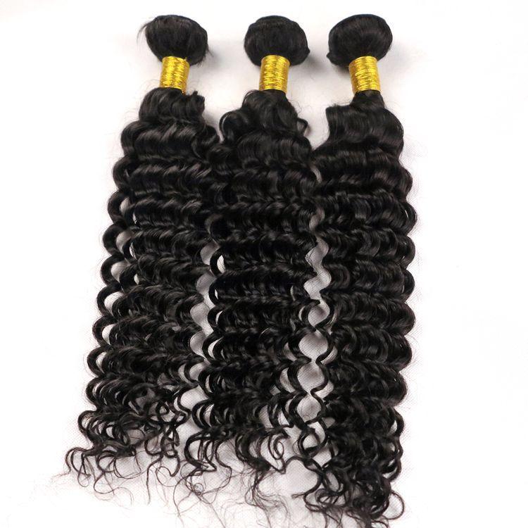 100 Virgin Human Hair Weaves Weft Deep Wave Curly 834inch Natural