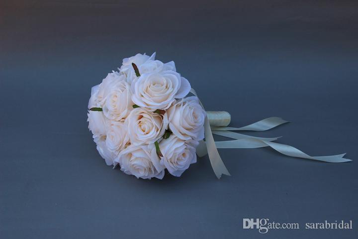soie bouquet de fleurs roseblancbleu de mariage de rose de fleurs de - Cout Fleuriste Mariage