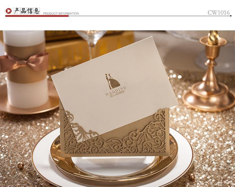 2016 Cheap New Gold Wedding Invitations Vintage Hollow Lace Laser Cut  Printable Wedding Cards Blank Card Free Shipping Wedding Favors