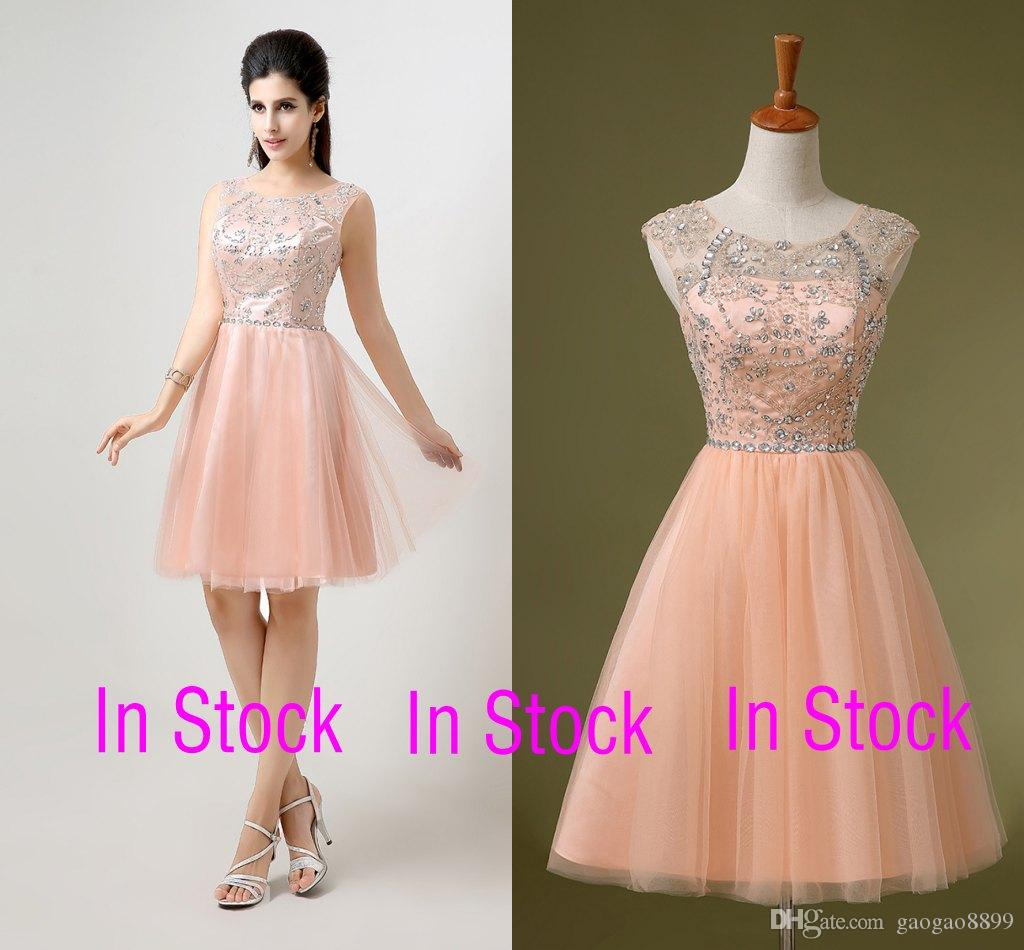 In Stock Peach Pink Short Prom Party Dresses A Line Tulle Sheer ...