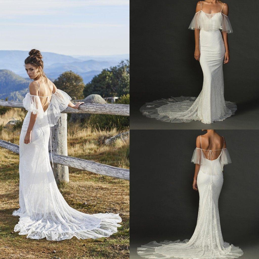 Discount beach wedding dresses mermaid shape spaghetti for Mermaid shape wedding dress