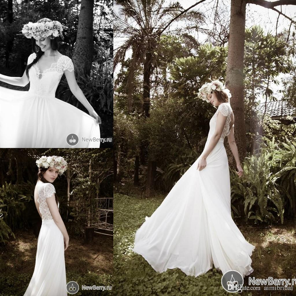 2016 Bohemian Wedding Dresses Vintage A Line Scalloped With Cap Sleeves V Shape Back Chiffon
