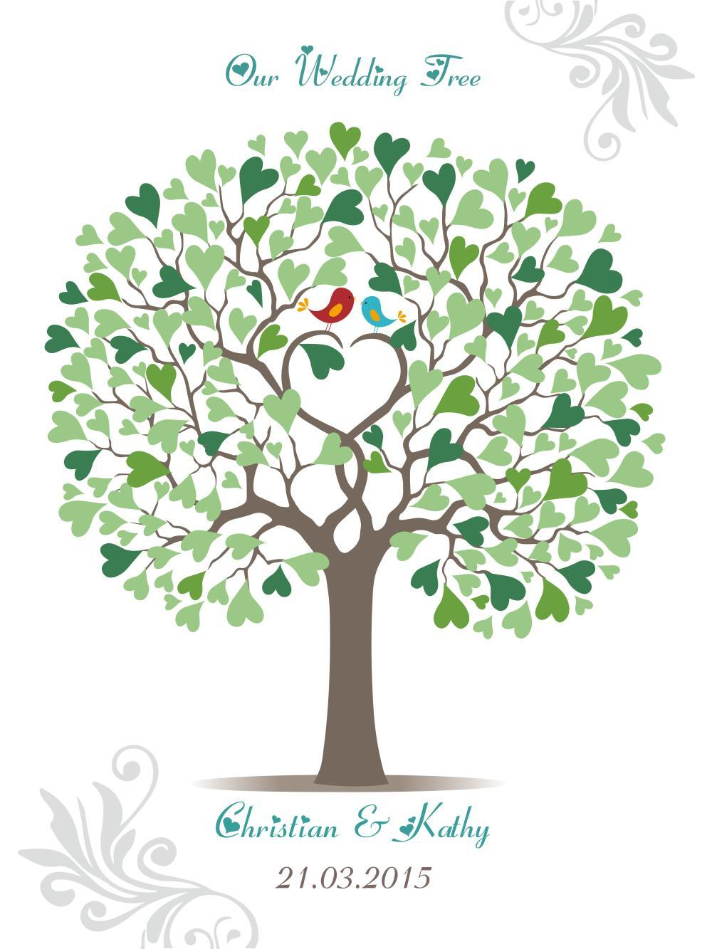 2017 Wedding Tree Guest Book Signature OnlyLover Birds Heart Shape Leaf Wedding Tree Guest Book