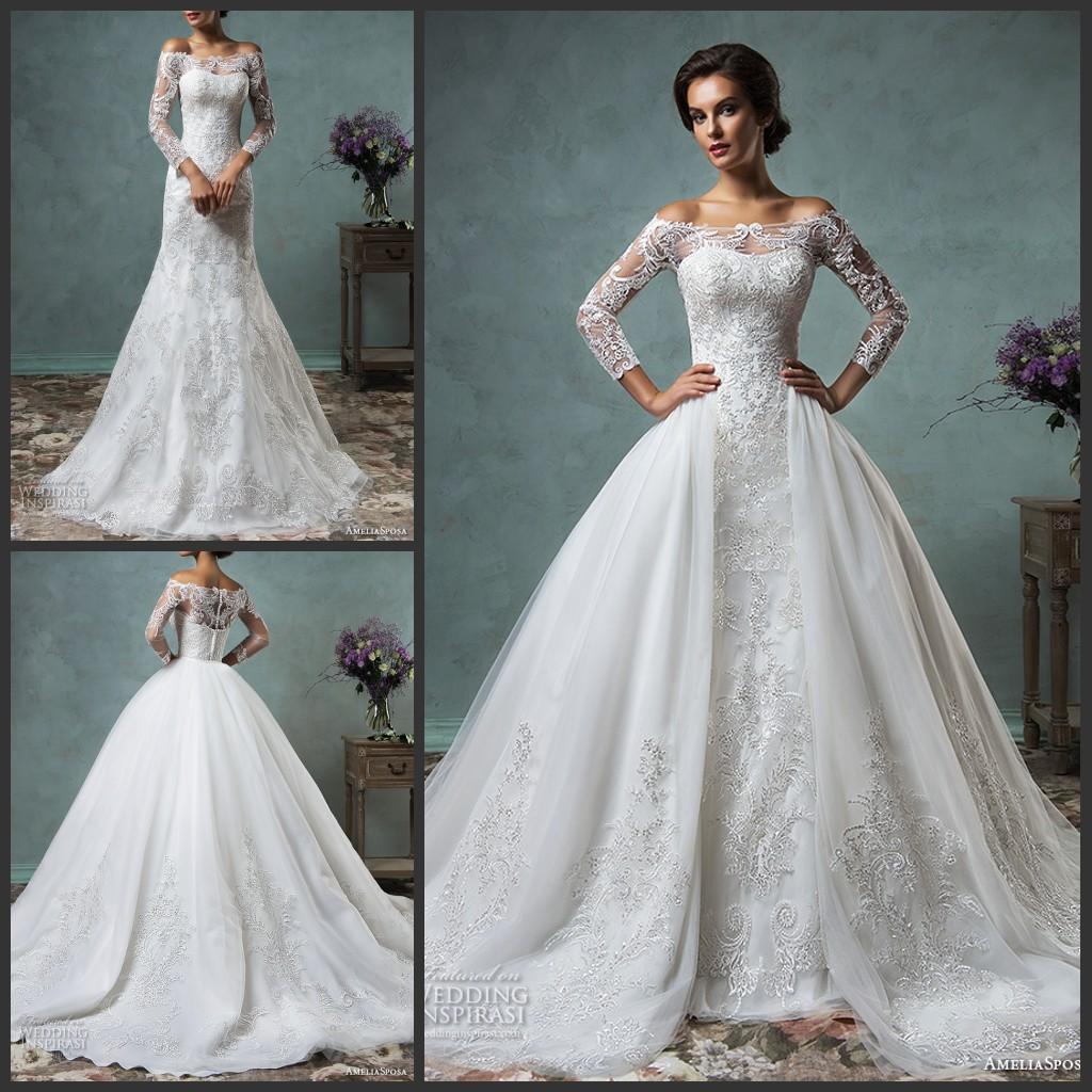 Over skirts wedding dresses 2017 vintage off the shoulder for Over the shoulder wedding dress
