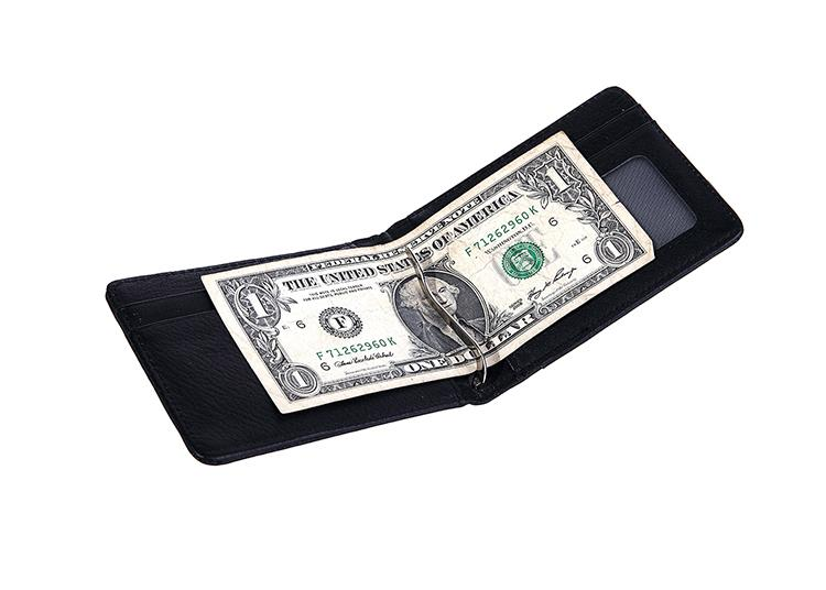 Men bilfold wallet money clips men s wallet money clip genuine leahter