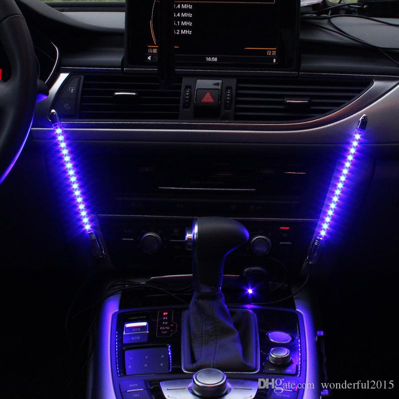 2x Car LED Blue/Colorful Sound Control Music Light Car Charge Interior  Light 12V Glow Decorative Atmosphere Lamp Car Lights Car Sticker Auto  Accessories ...