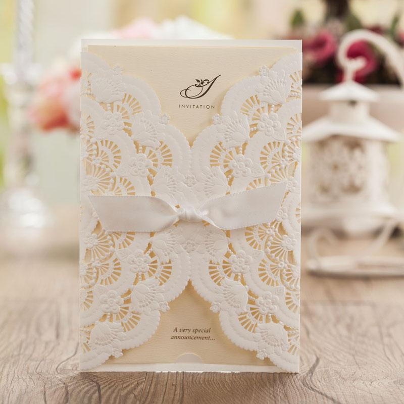 White Ribbon Decorate Lace Wedding Invitations Cards Free – Free Customizable Invitation Templates