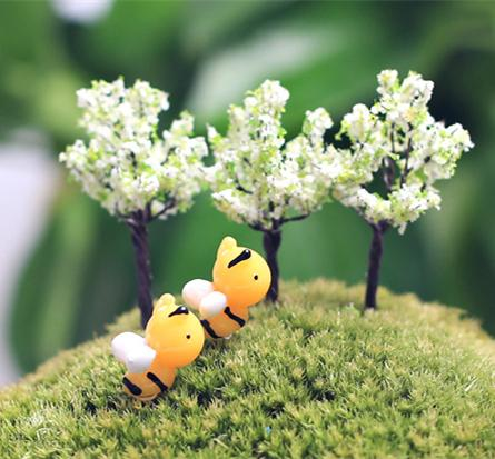 2018 artificial cute bee dolls fairy garden miniatures for Artificial bees for decoration