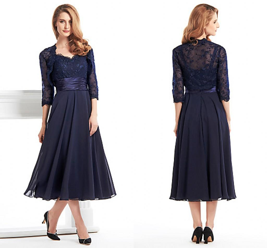 Ink Blue Tea Length Dresses For Mother Lace Long Sleeve Jecket ...