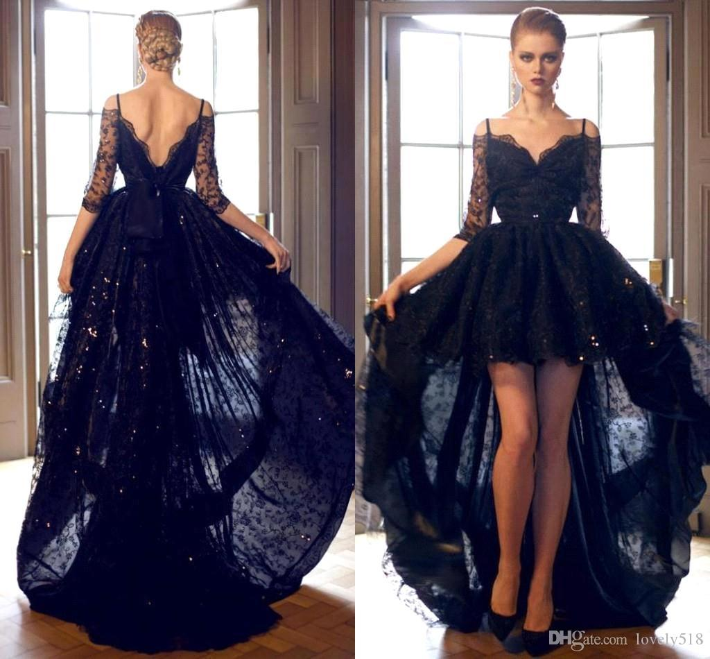 Dark Navy High Low Prom Dresses Spaghetti Lace Low Back Half ...