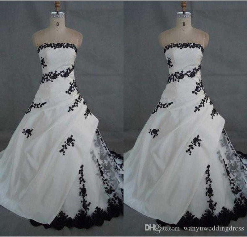 Discount White And Black Wedding Dresses Gothic Lace 2017