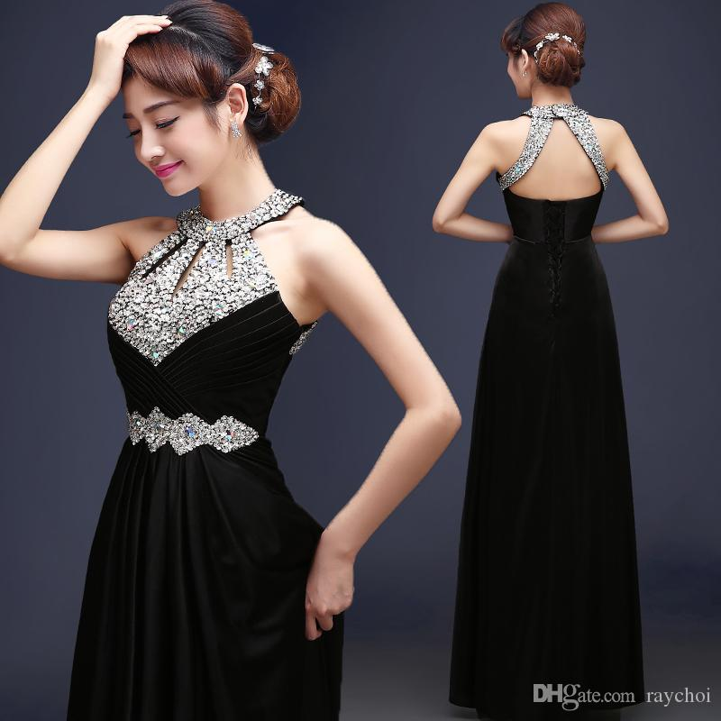 2016 Long Black Spring Evening Dresses Crystals Beaded Prom ...