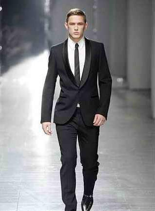 2015 New Two Pieces Fashion One Button Black Men'S Wedding Suits