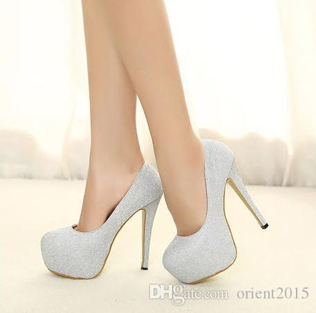 2015 Высокие каблуки Silver / Black свадебные туфли Свадебная обувь класса люкс Высокие каблуки обувь