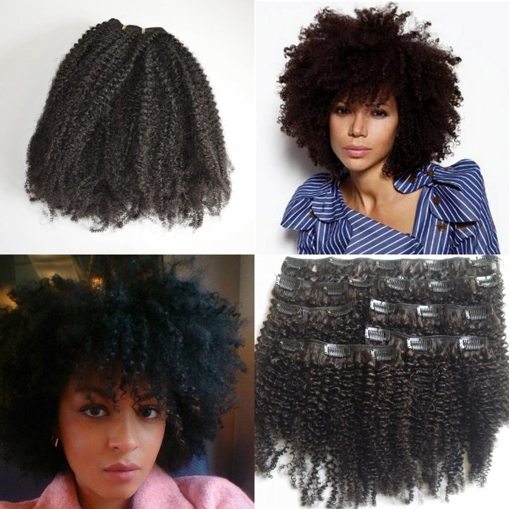 Afro Kinky Curly Clip In Human Hair Extensions Brazilian