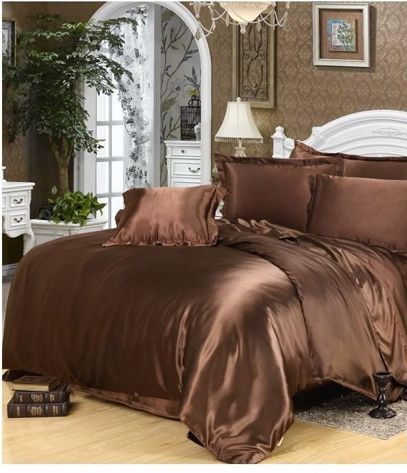 luxury silk bedding set brown satin california king size queen doona quilt duvet cover fitted. Black Bedroom Furniture Sets. Home Design Ideas