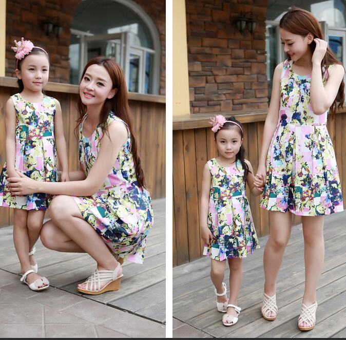 Girls Summer Skirt Sleeveless Flower Printing Dresses Mom Girls ...