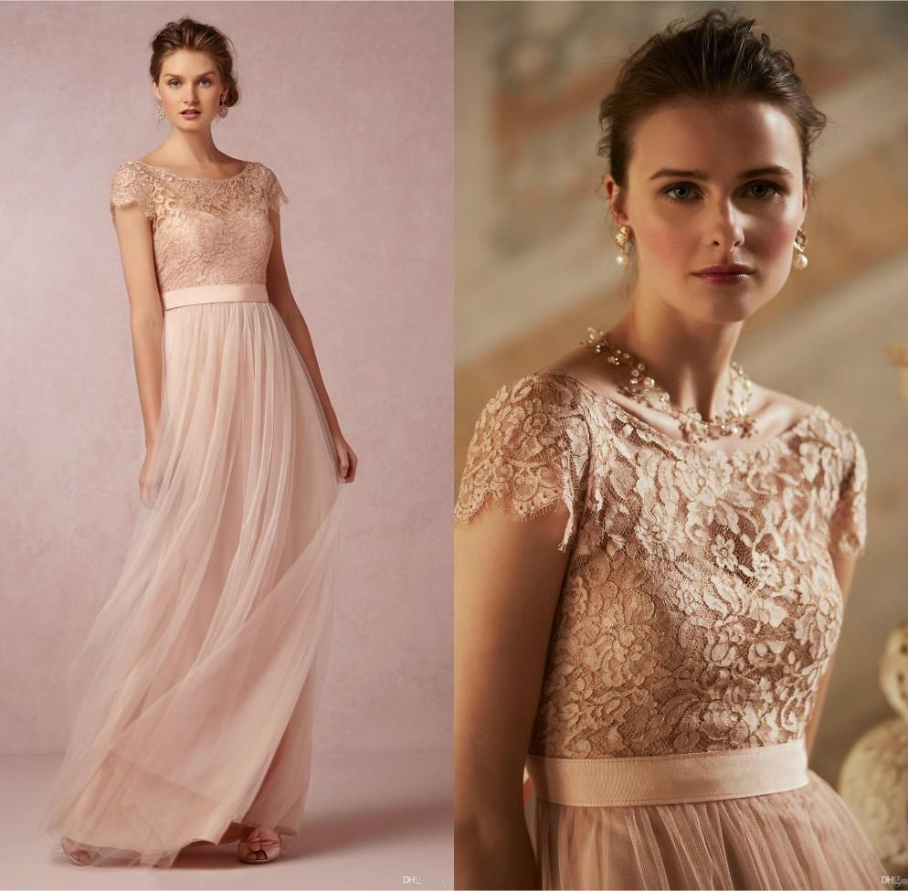 2016 Cheap Lace Long Bridesmaid Dresses Blush Pink Scoop