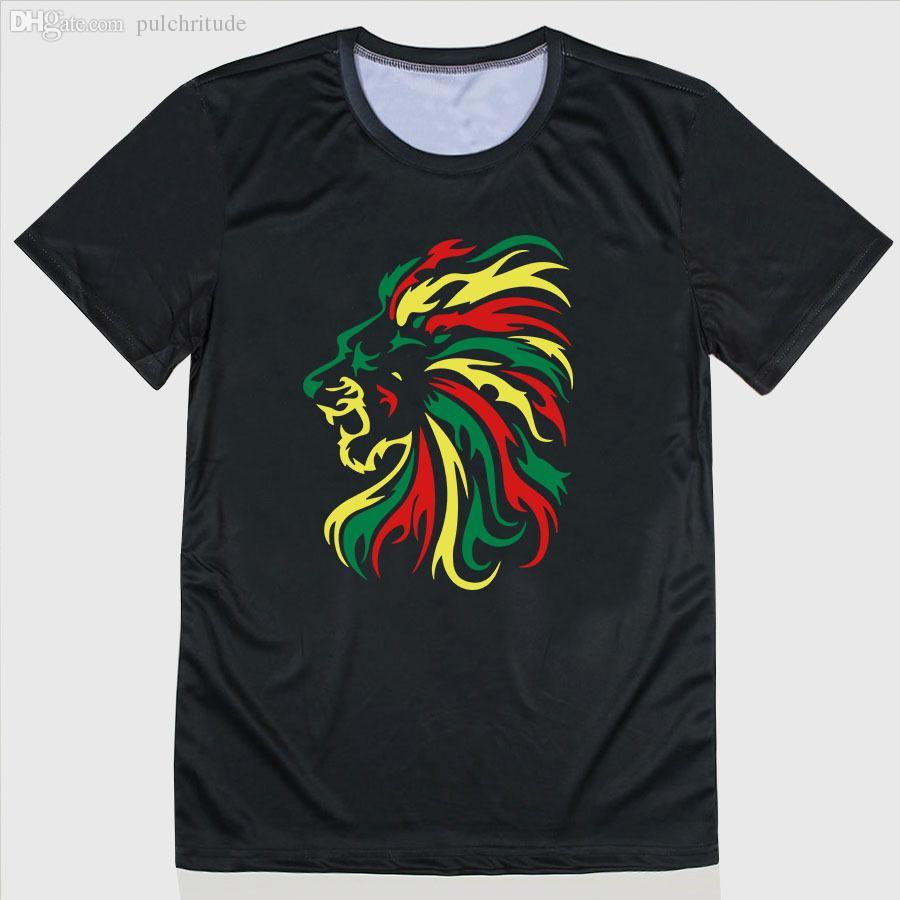 Design t shirt reggae - Wholesale Fashion Novelty Reggae Lion Tribal Logo Design T Shirt Men Sports T Shirt O Neck Short Sleeve Personalized T Shirt Top Tee Shirt Shirt Dog Shirt