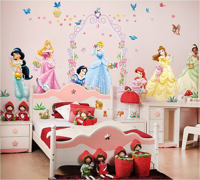 2015 New Princess Party Wall Stickers For Baby Girls Bedroom Home Decor Kindergarten Decoration Adesivo De Parede Flower Decal Decorative Stickers For The