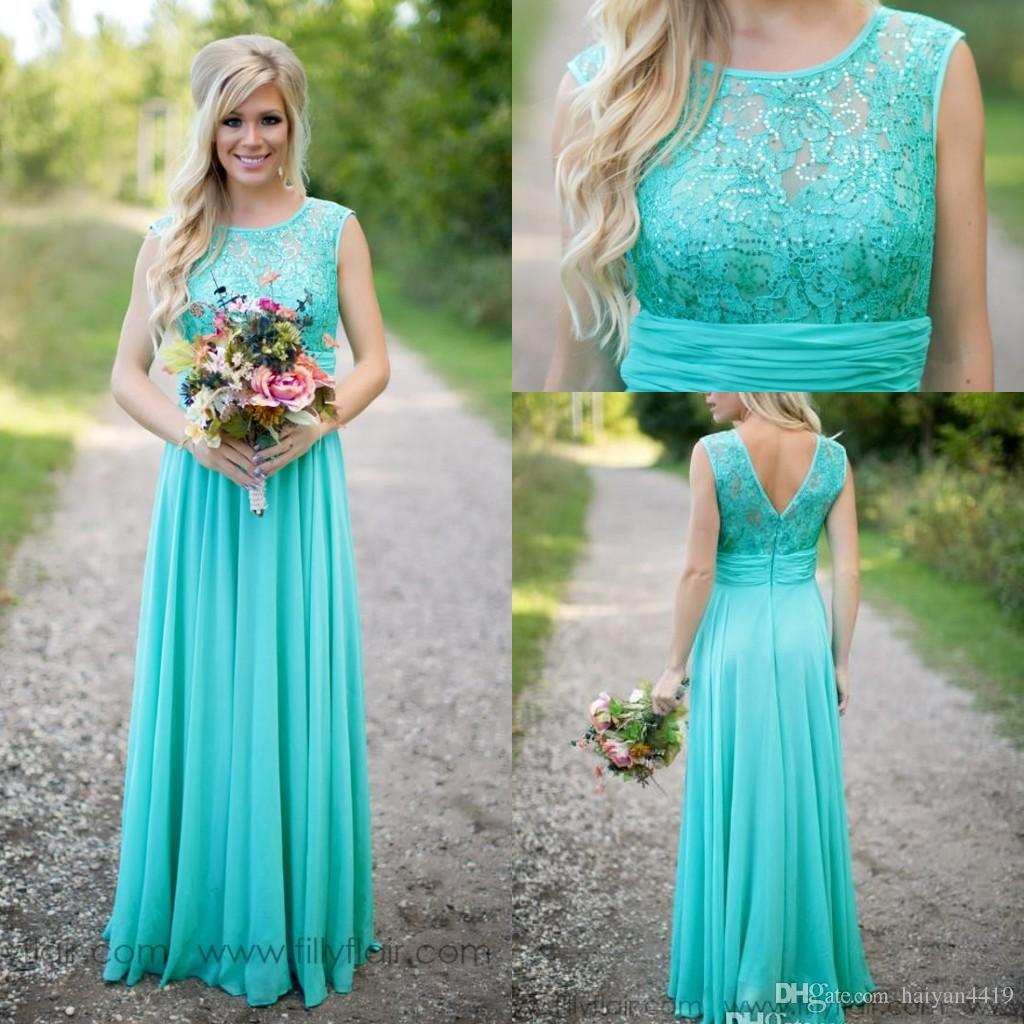 Buy cheap strapless floor length chiffon coral bridesmaid dress - 2017 Cheap Country Turquoise Mint Bridesmaid Dresses Illusion Neck Lace Beaded Top Chiffon Long Plus Size Maid Of Honor Wedding Party Dress