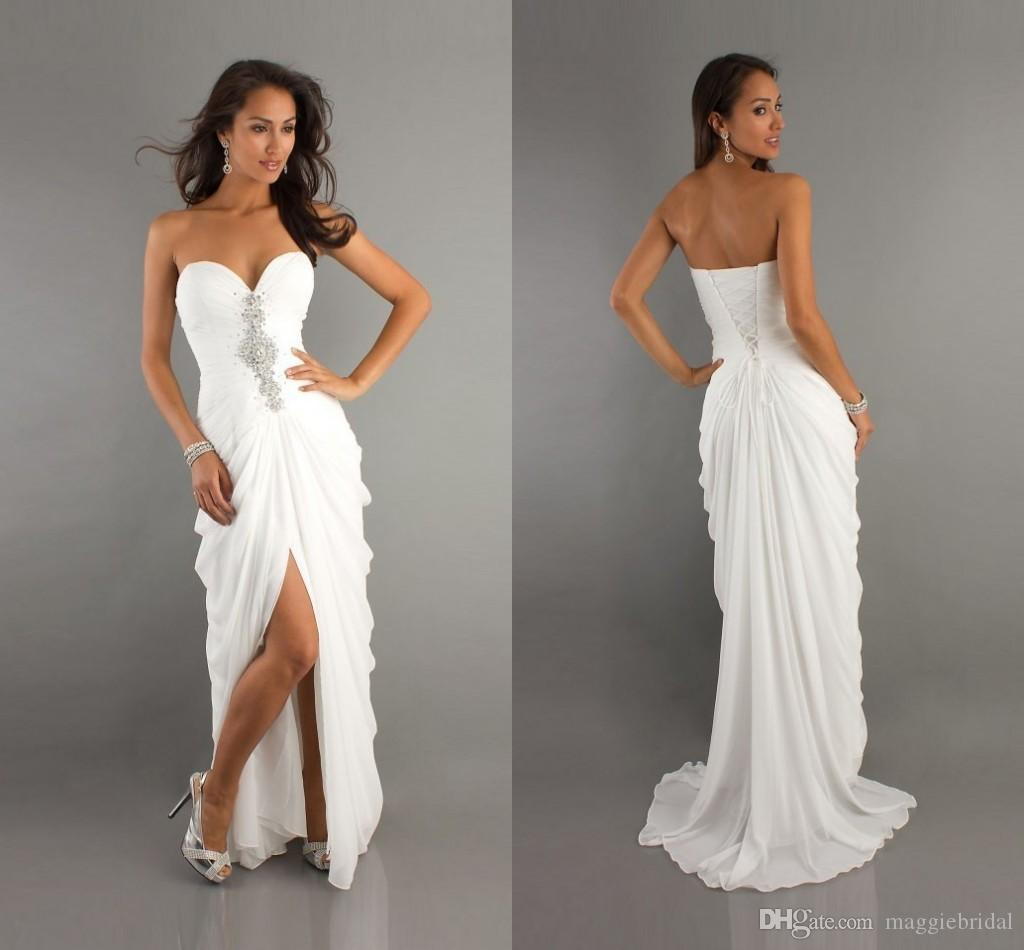 Sexy White Long Cheap Prom Dresses Uk 2016 Under 100 Sweetheart A ...
