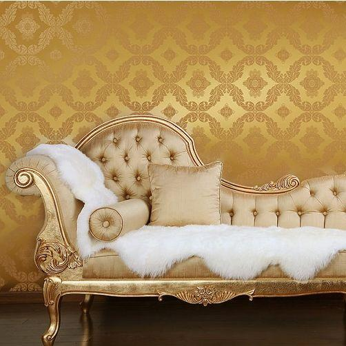 European gold foil wallpaper bedroom living room sofa tv for Gold wallpaper living room