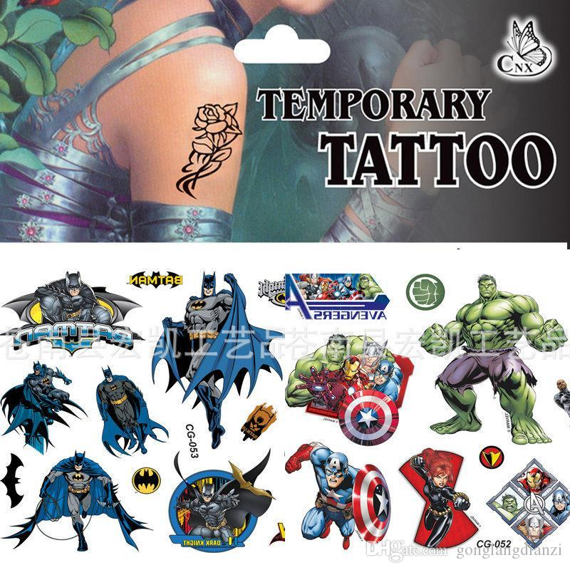 2015 hot body metallic temporary tattoo avengers batman for Superhero temporary tattoos