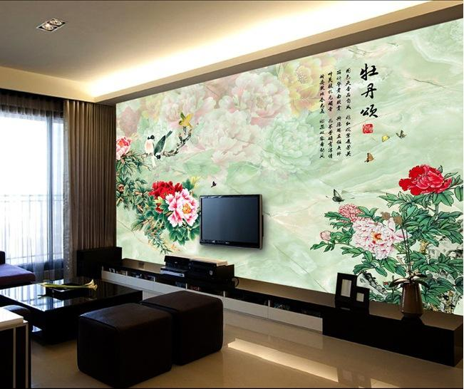 Large three dimensional wallpaper 3d wallpaper tv wall for Wallpaper for home hall