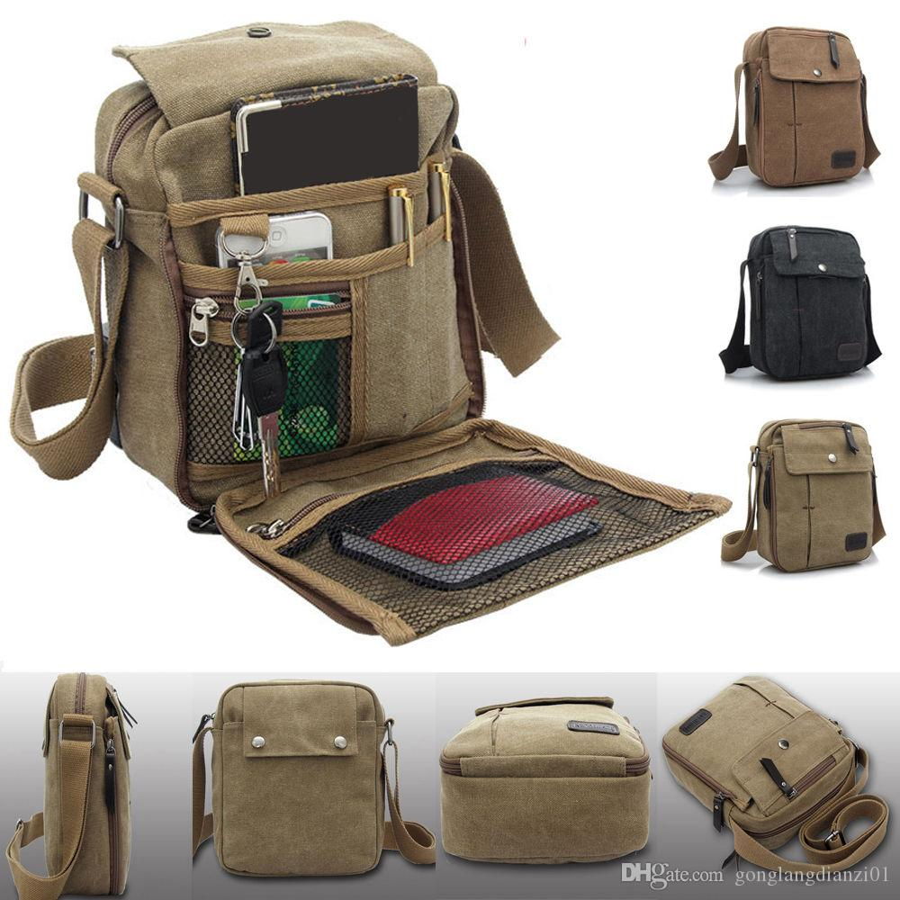 Mens Canvas Leather Satchel School Military Shoulder Bag Messenger ...