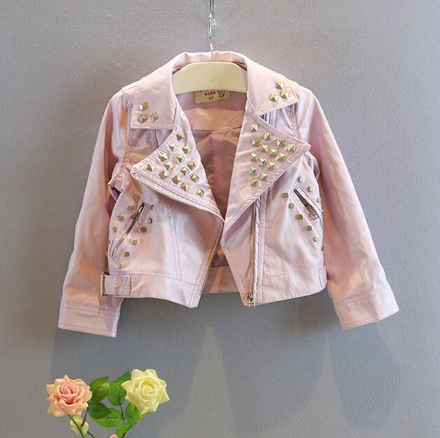 2015 New Girls Leather Jacket Fashion Baby Coats Jackets Rivet ...